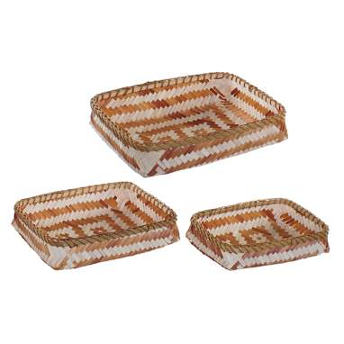 Hors set 3 brown bamboo tray