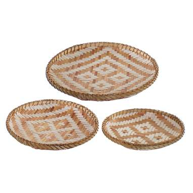 Keig set 3 brown bamboo tray