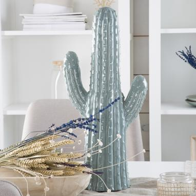 Tisa figura ceramica cactus celeste