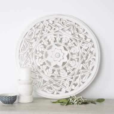 Adi distressed white wood mural 60d