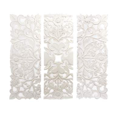 Glam mural set of 3  white carved wood