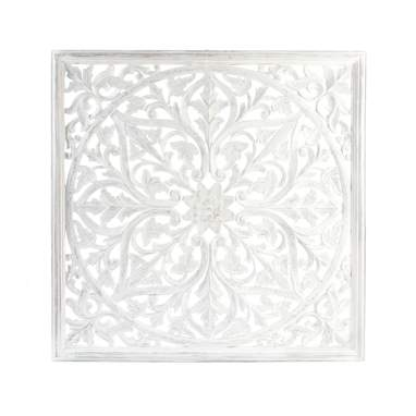 Vikor white wooden carved mural