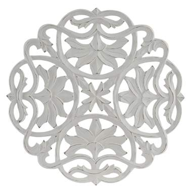 Noic white carved wooden wall decoration