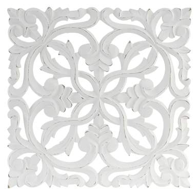 Nois white carved wooden wall decoration