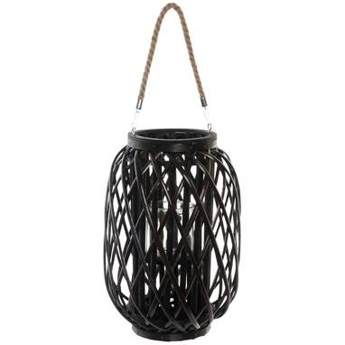 Stum dark brown crystal wicker candleholder