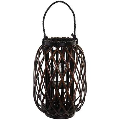 Howa dark brown crystal wicker candleholder