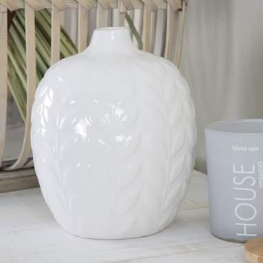 Briss vaso 11,5x14 foglie bianche