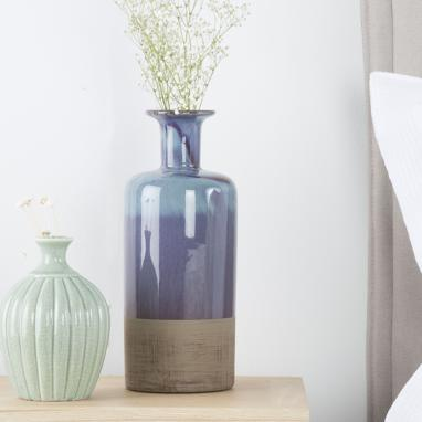 Nois blue lacquered ceramic vase