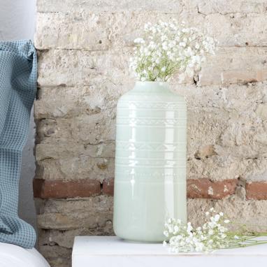 Kitre vaso porcellana craquelure celeste