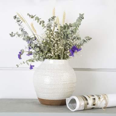 Sifu jarra grés gravada branca