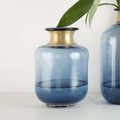 Sate blue metal crystal vase