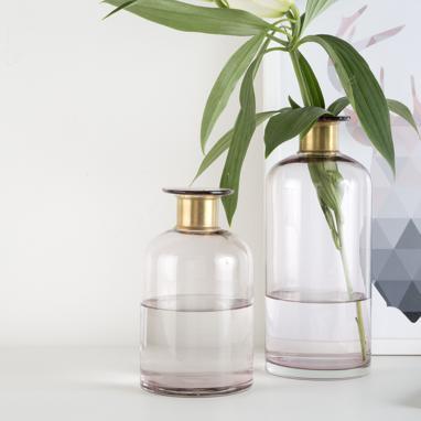 Uine vase cristal métal rose