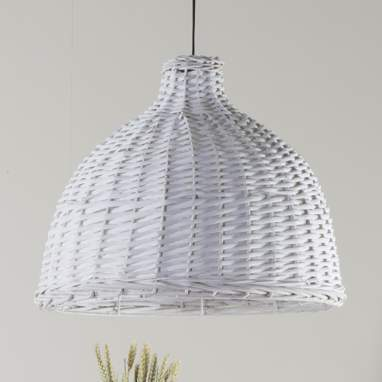 Dril abat-jour lampe osier blanc 49x40
