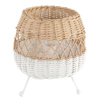 Brazz natural/ white wicker table lamp