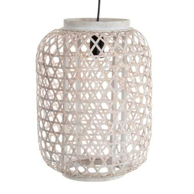 Pona white plaited bamboo lamp