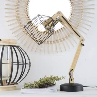 Leo candeeiro de mesa madeira metal natural