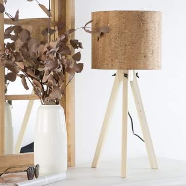 Mexko candeeiro de mesa madeira símil cortiça