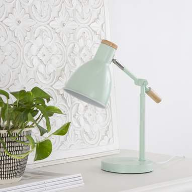 Nilaj green metal wooden table lamp