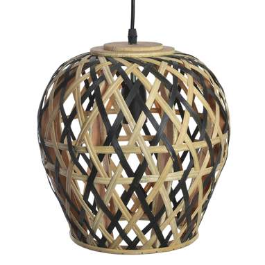 Lary  lampara techo bambu 28x28 negro
