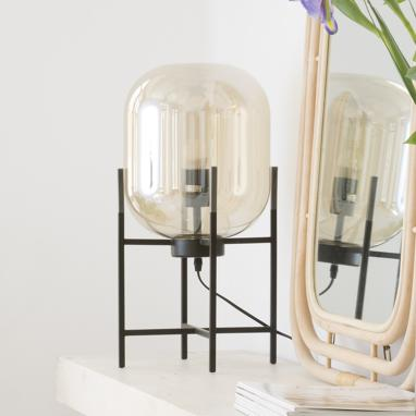 Sime lampara pie cristal metal 27x50 ahumado negro