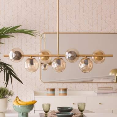 Aspe lampara techo metal cristal 96x30x1,3 e27 7 bolas