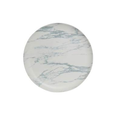 Part matt white simil marble porcelain dish