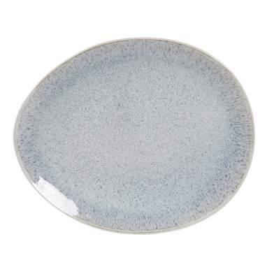 Lany blue glazed stoneware plate 28,2x24x2,5