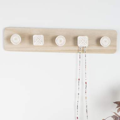 Savi natural wooden wall coat rack