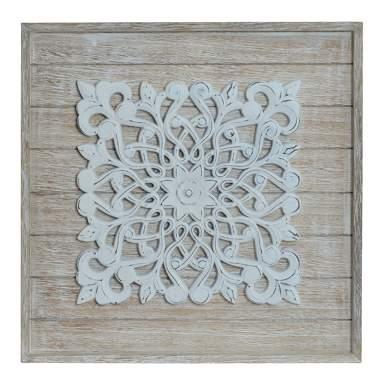 Quadro mural madeira natural/branco