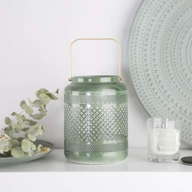 Srel green metal candle holder