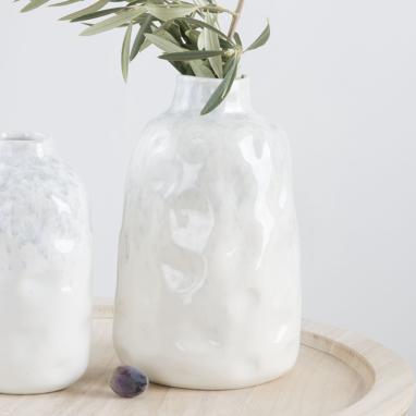 Toza  jarron porcelana 13x13x20 brillante blanco