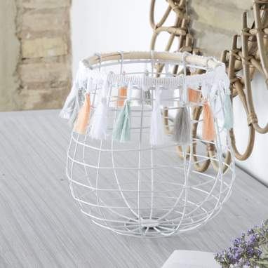Fless white metal basket