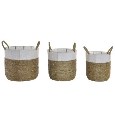 Jeldy set 3 paniers metal boho naturel blanc