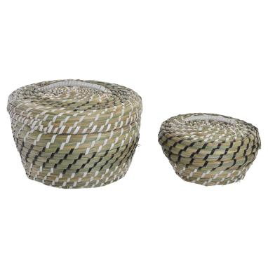 Nymo set 2 natural black rattan basquet