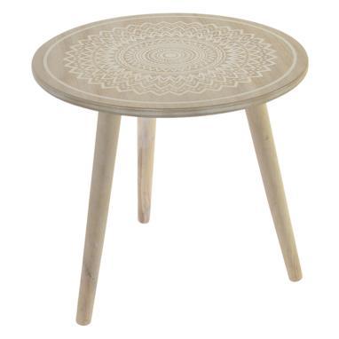 Laie mesa madera 45x45x42 mandala blanco