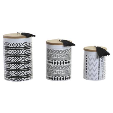 Ridi set 3 white metal wooden tin