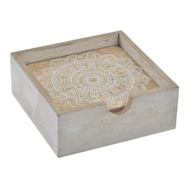 Leul set 4 white mandala wooden coaster