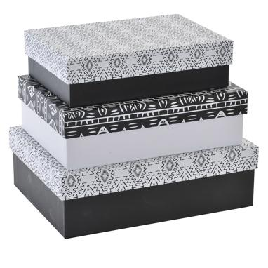 Amse set 3 white carton ikat box