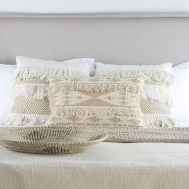 Aqua ivory cotton fringes cushion