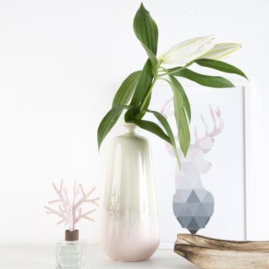 Wida jarra cerâmica 15x15x32 bicolor rosa