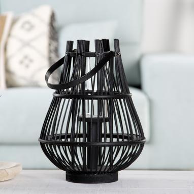Valve black glass bamboo candleholder