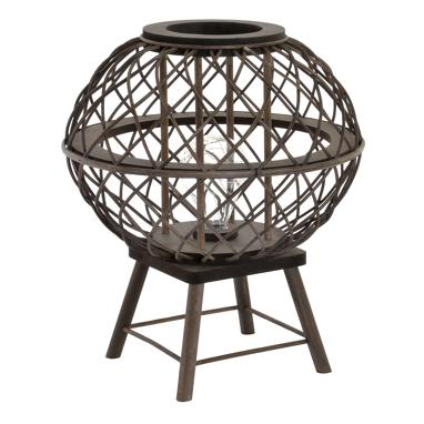 Zirt black plaited rattan led lamp