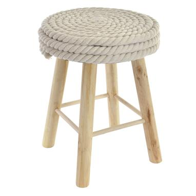 Ramys white rope cotton wood footstool
