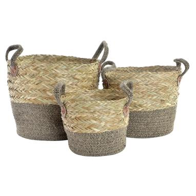 Neus set 3 natural plaited fibre rope baskets