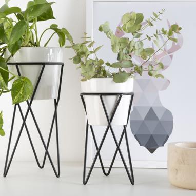 Caste vaso piante ceramica bianco