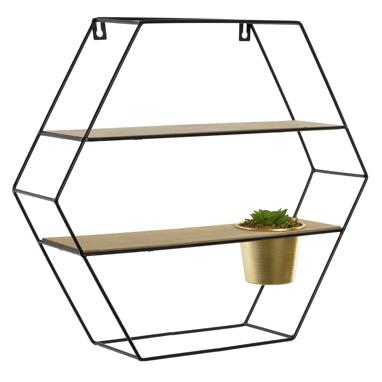 Nexa hexagon metal wood bookshelf