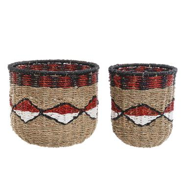 Etny set 2 basquets ethnic/natural fibre/metal