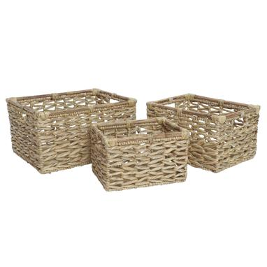 Set 3 natural fibre brown basquets