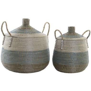 Fevy set 2 white fibre baskets