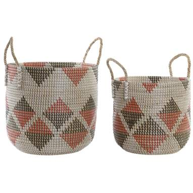 Hylt set 2 seagrass red baskets